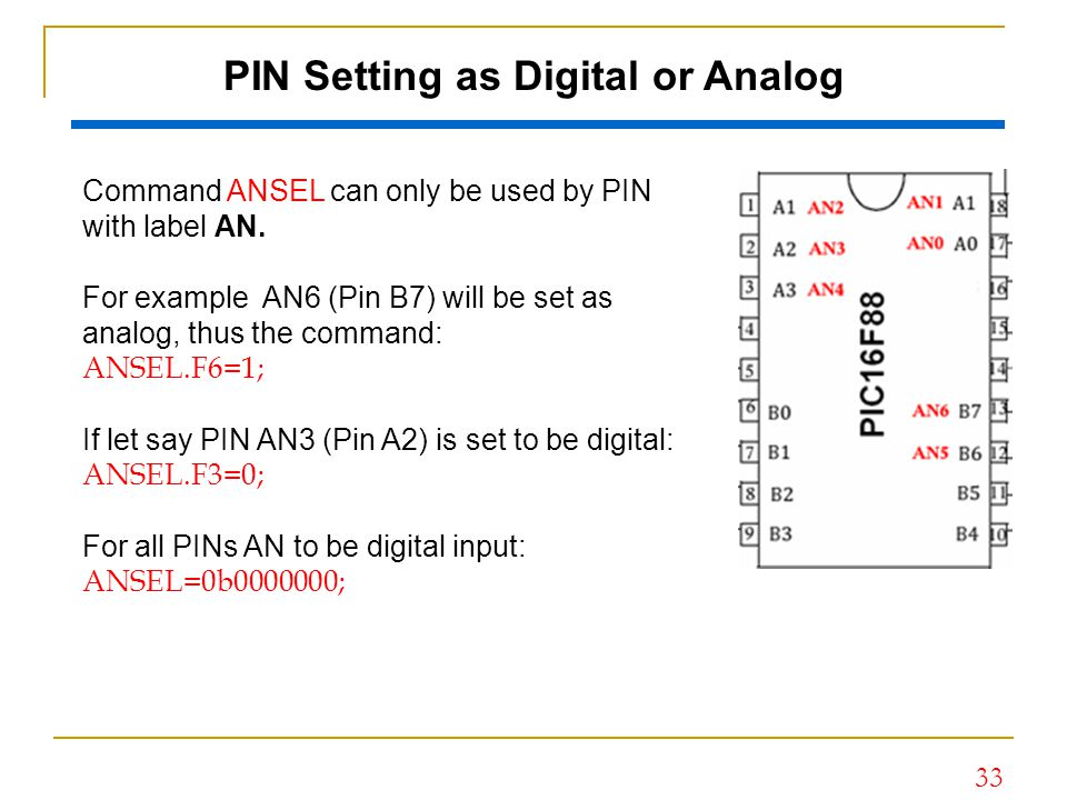 PIN Setting as Digital or Analog