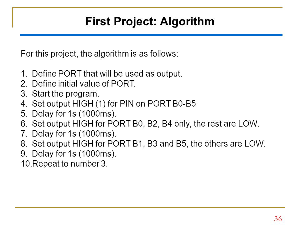 First Project: Algorithm