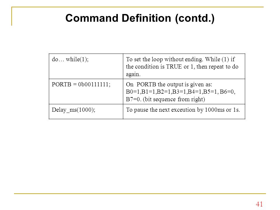Command Definition (contd.)
