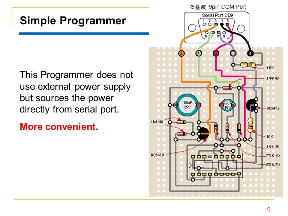 Simple Programmer This Programmer does not use external power supply but sources the power directly from serial port.