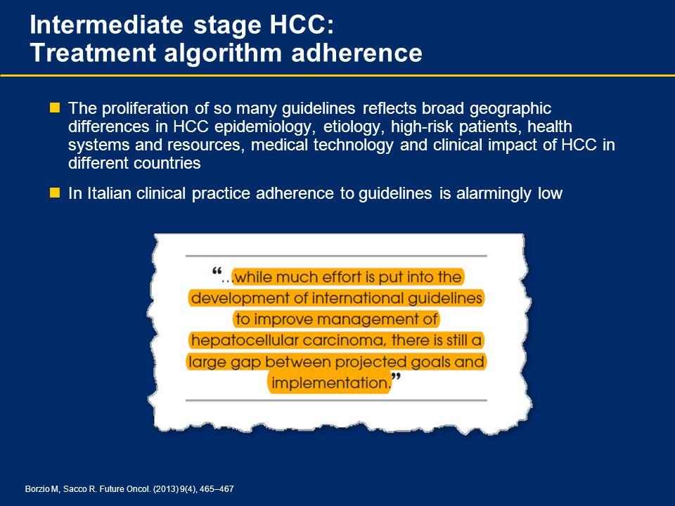 Intermediate stage HCC: Treatment algorithm adherence