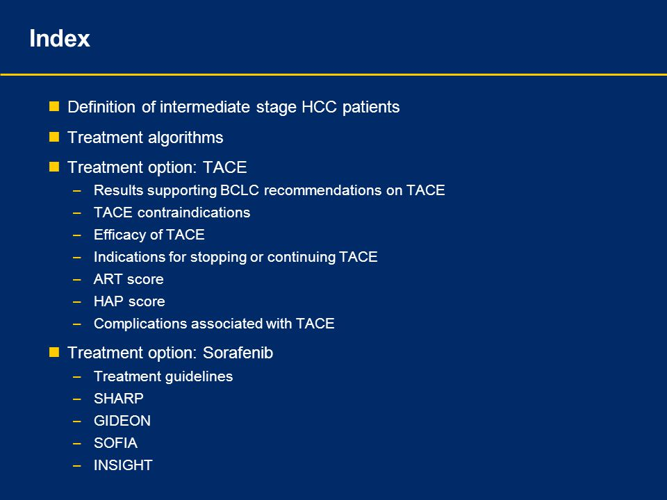 Index Definition of intermediate stage HCC patients