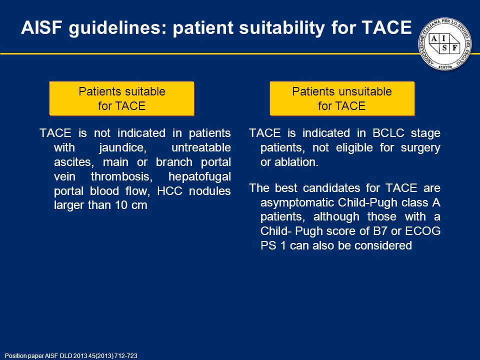 AISF guidelines: patient suitability for TACE