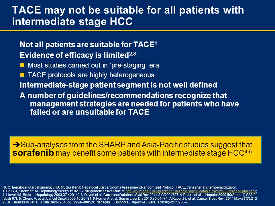 TACE may not be suitable for all patients with intermediate stage HCC