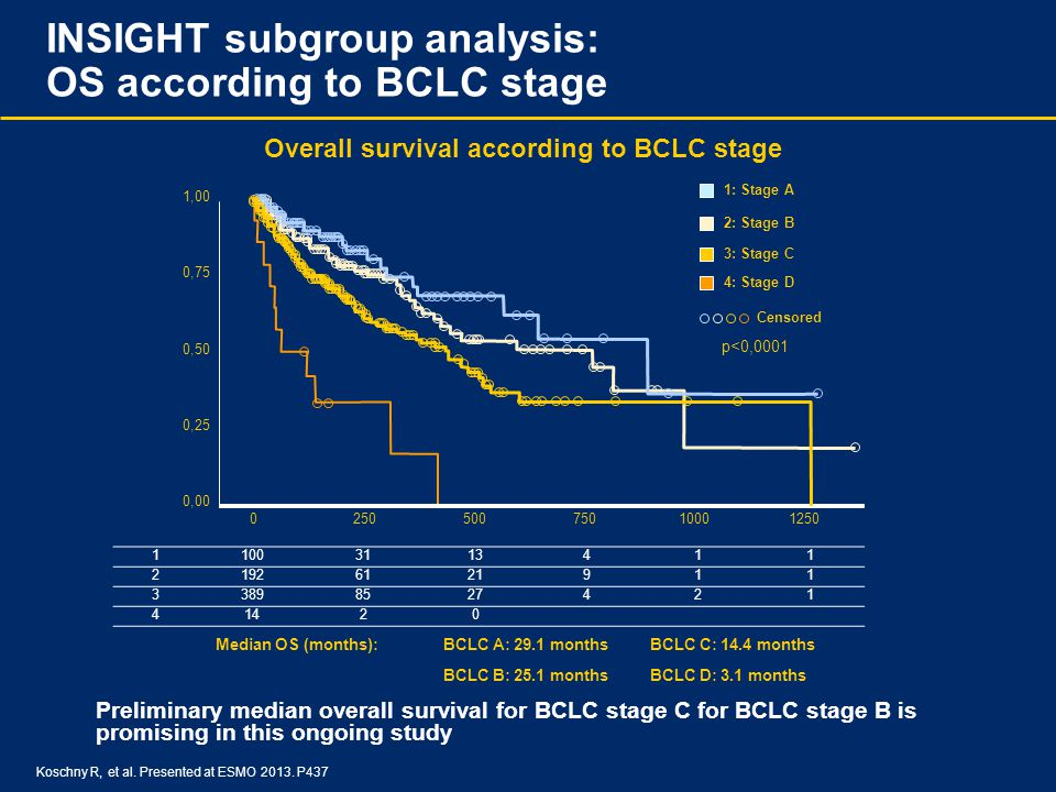 INSIGHT subgroup analysis: OS according to BCLC stage