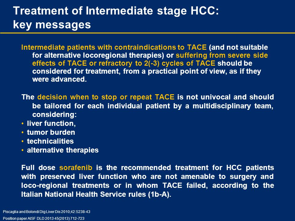 Treatment of Intermediate stage HCC: key messages