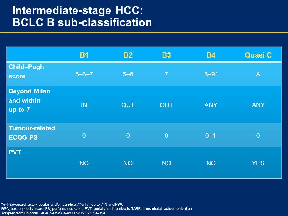 Intermediate-stage HCC: BCLC B sub-classification