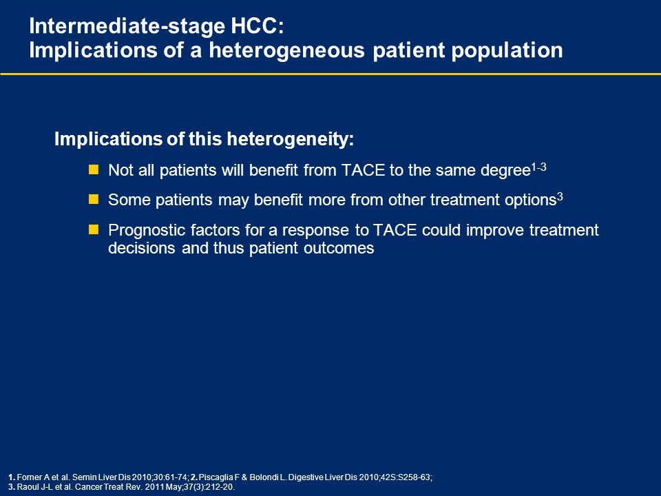 Intermediate-stage HCC: Implications of a heterogeneous patient population