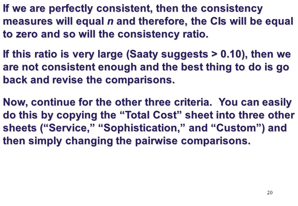 If we are perfectly consistent, then the consistency measures will equal n and therefore, the CIs will be equal to zero and so will the consistency ratio.