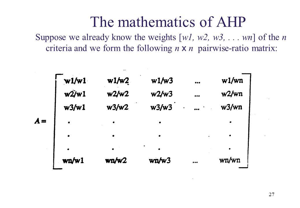 seg 7410 The mathematics of AHP.