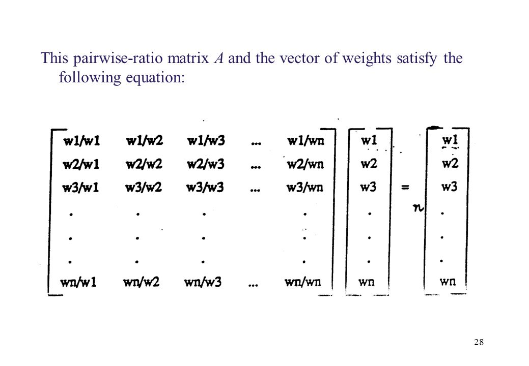 seg 7410 This pairwise-ratio matrix A and the vector of weights satisfy the following equation: