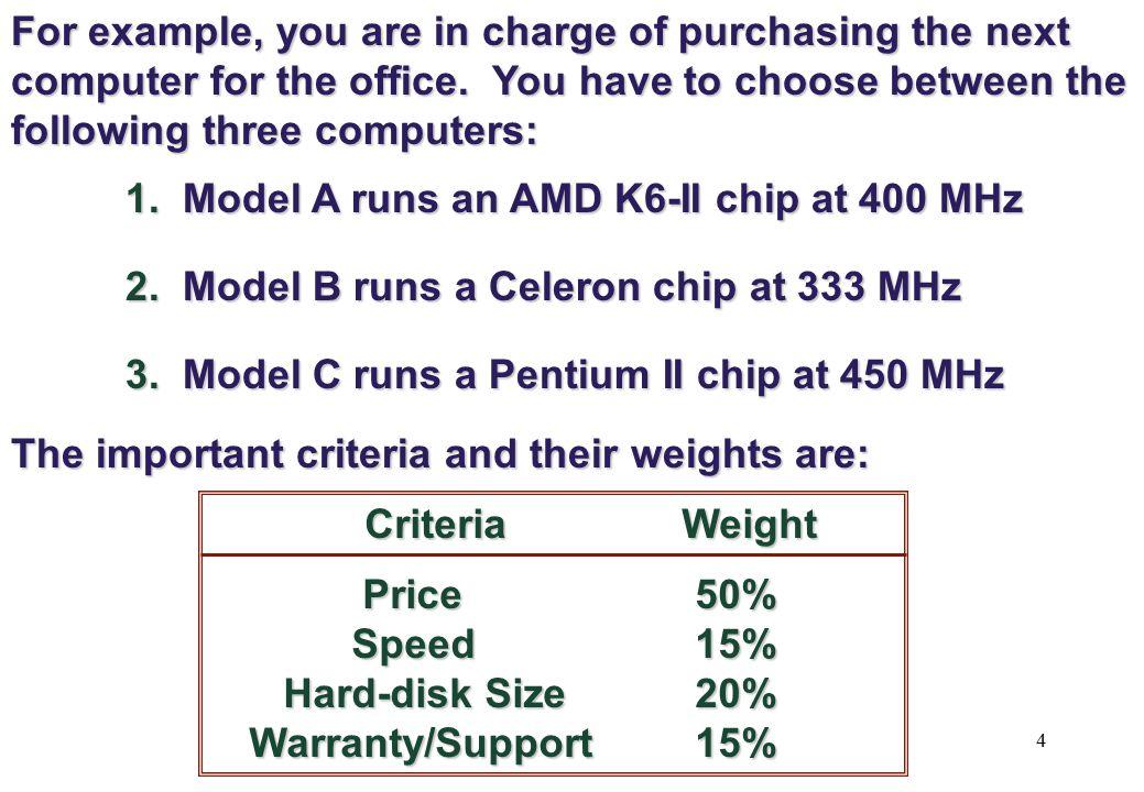 1. Model A runs an AMD K6-II chip at 400 MHz