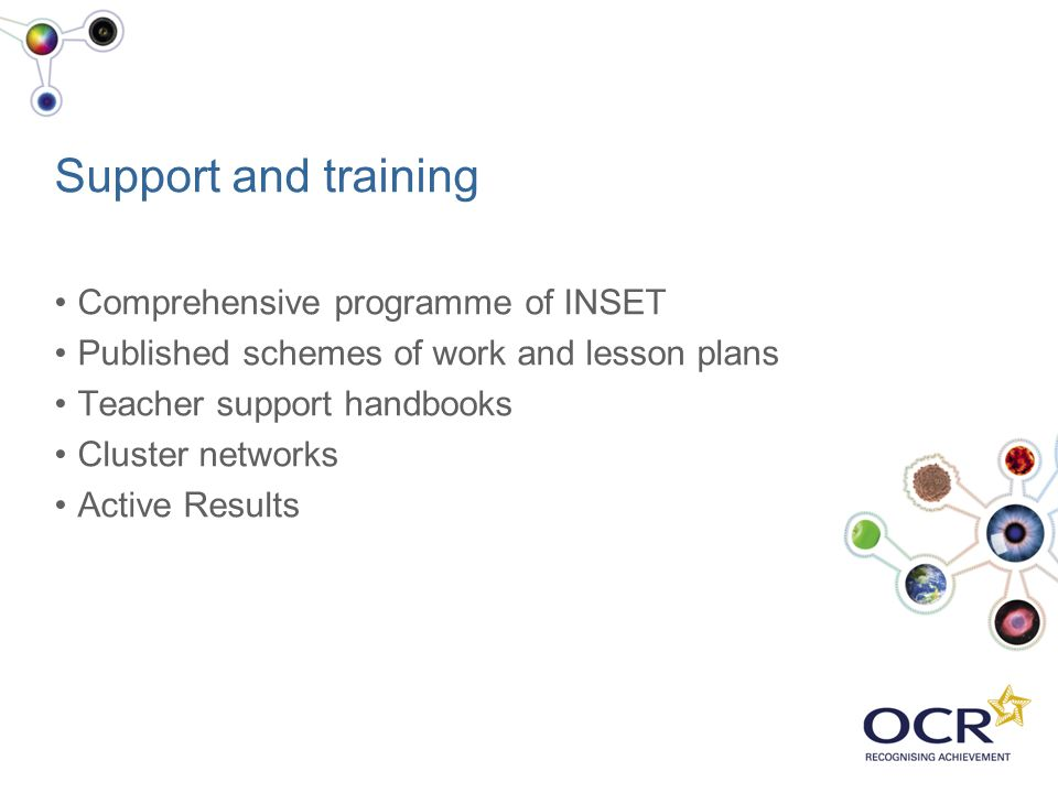 Support and training Comprehensive programme of INSET