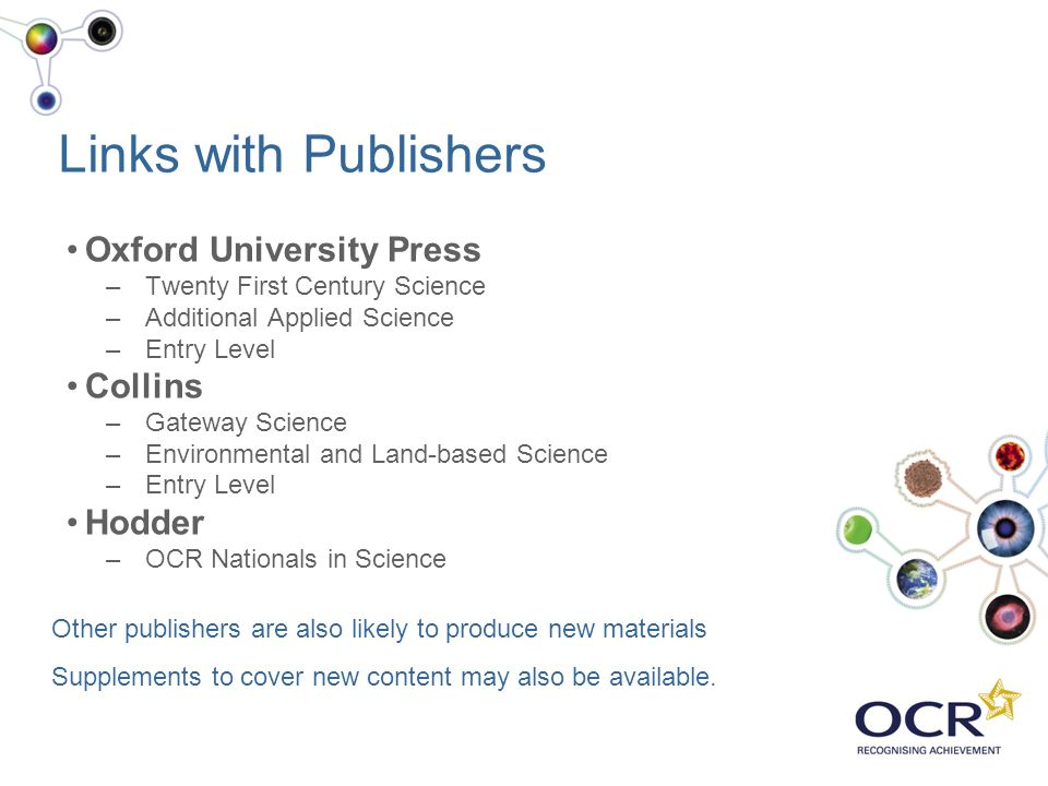 Links with Publishers Oxford University Press Collins Hodder