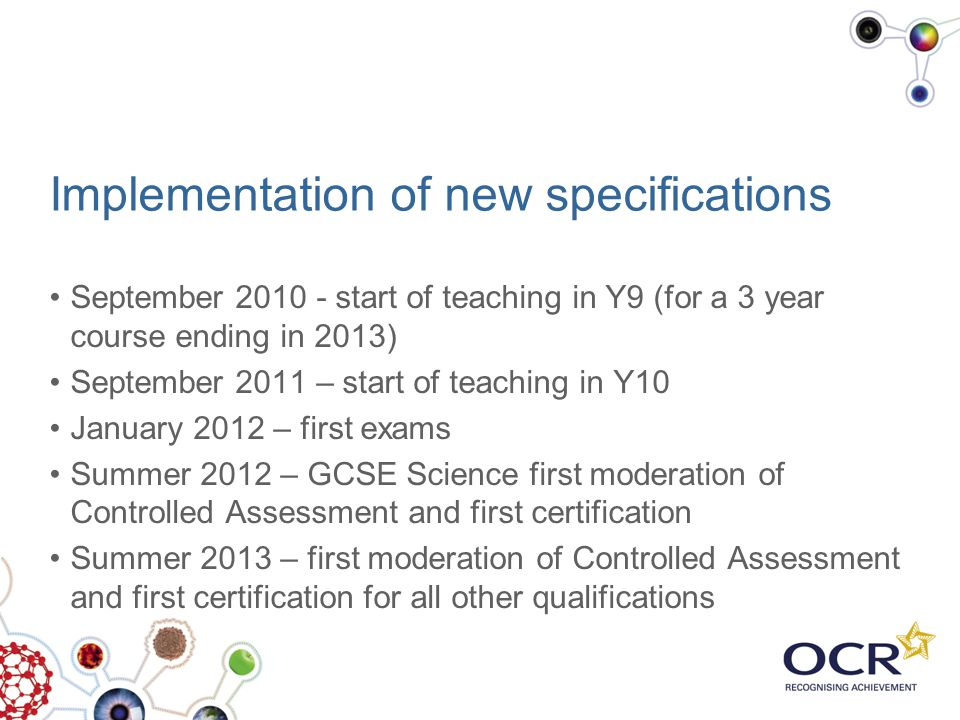 Implementation of new specifications