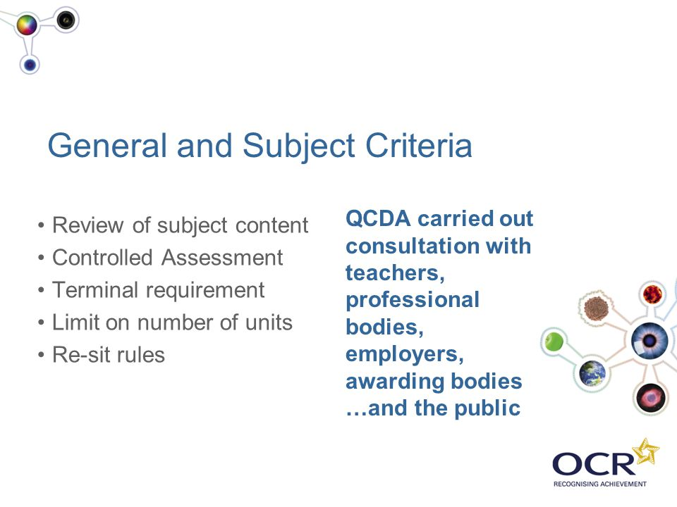 General and Subject Criteria