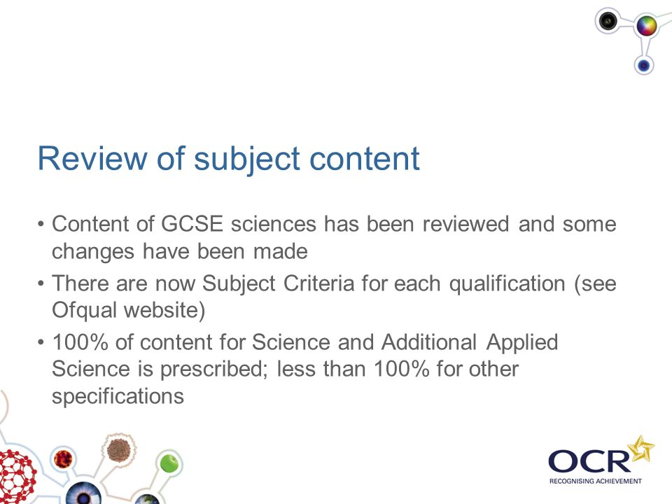 Review of subject content