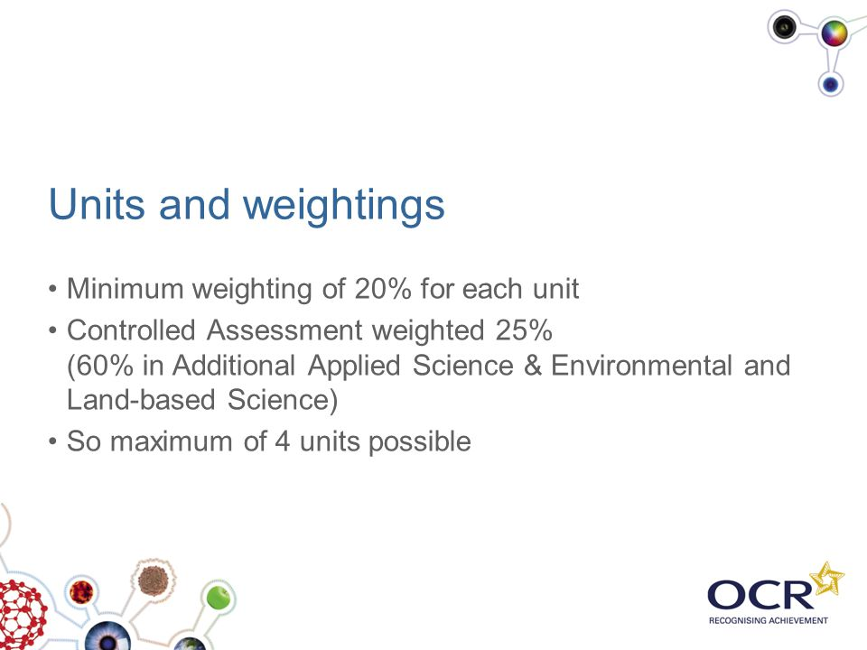 Units and weightings Minimum weighting of 20% for each unit