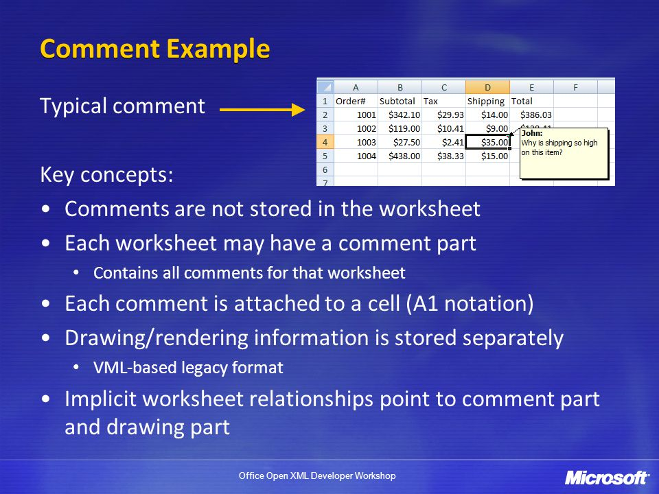 Comment Example Typical comment Key concepts: