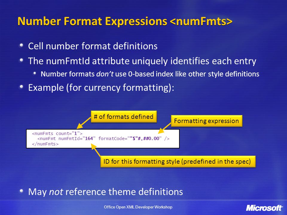 Number Format Expressions <numFmts>