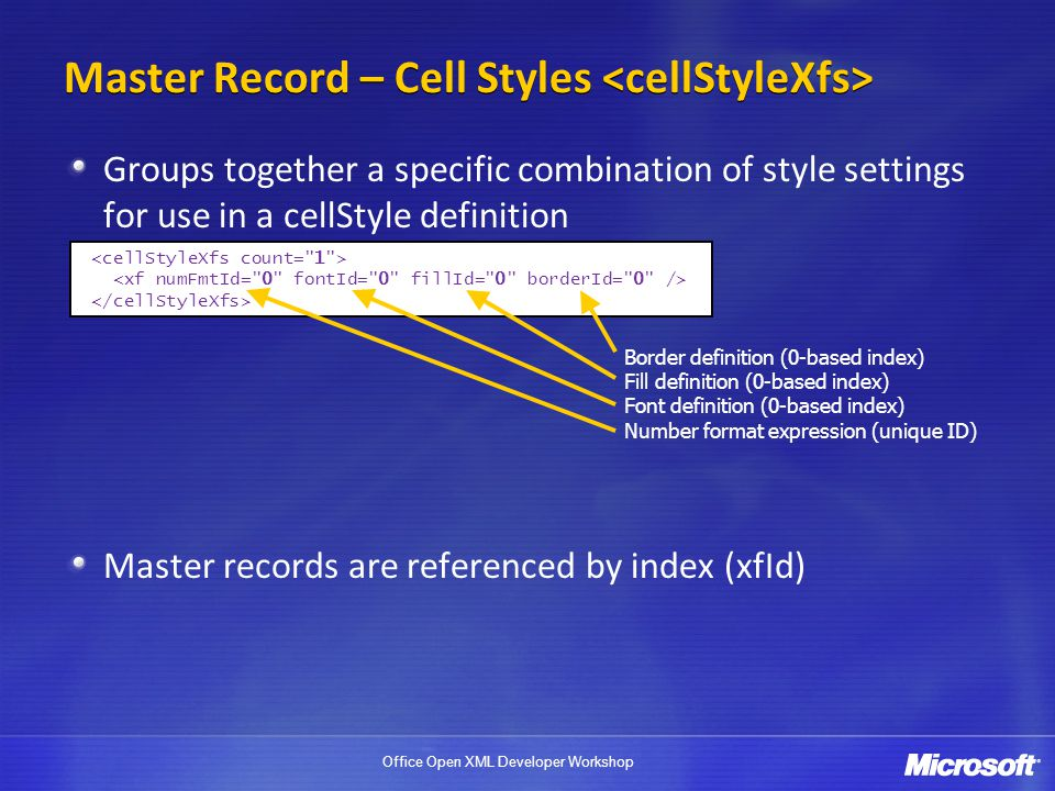 Master Record – Cell Styles <cellStyleXfs>