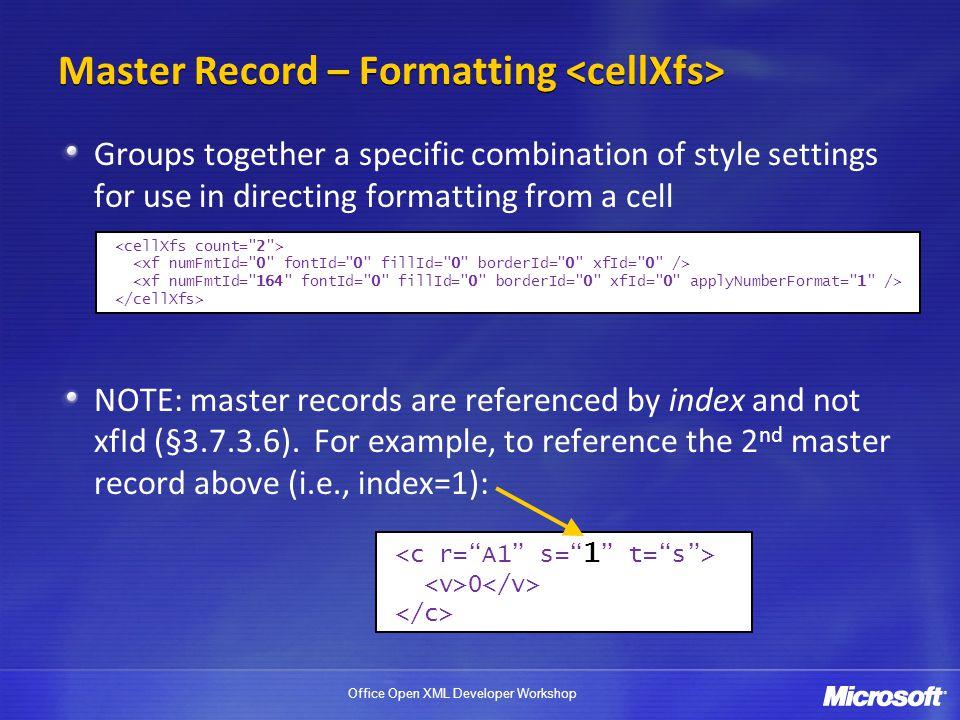 Master Record – Formatting <cellXfs>