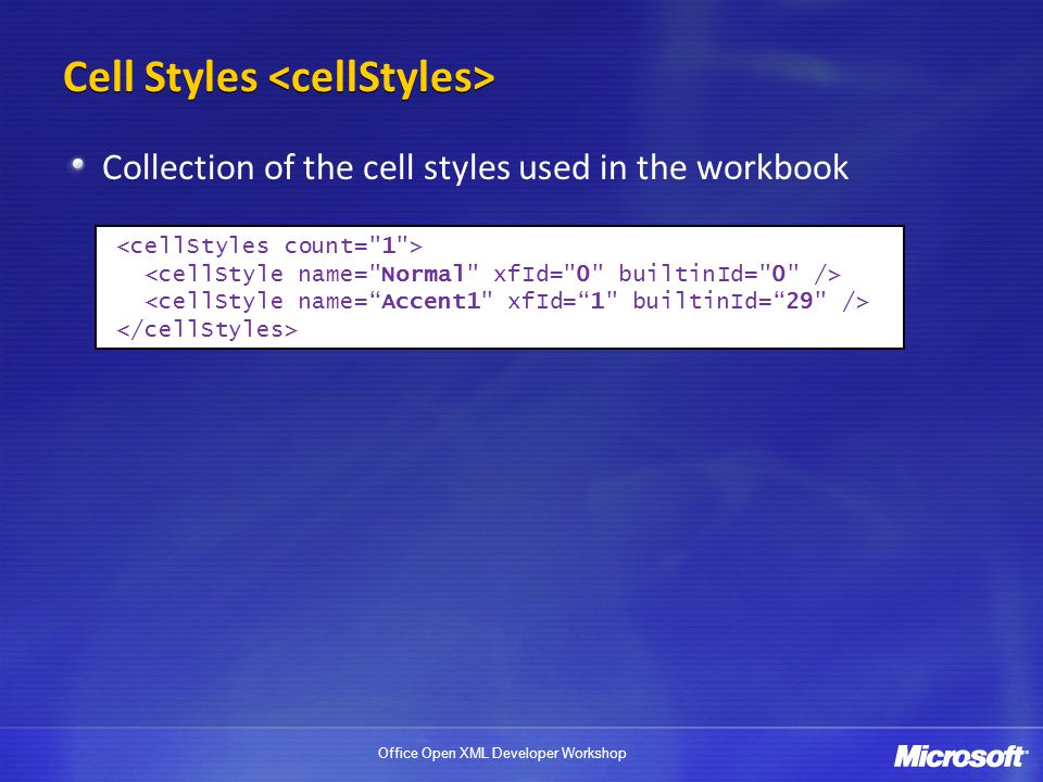 Cell Styles <cellStyles>