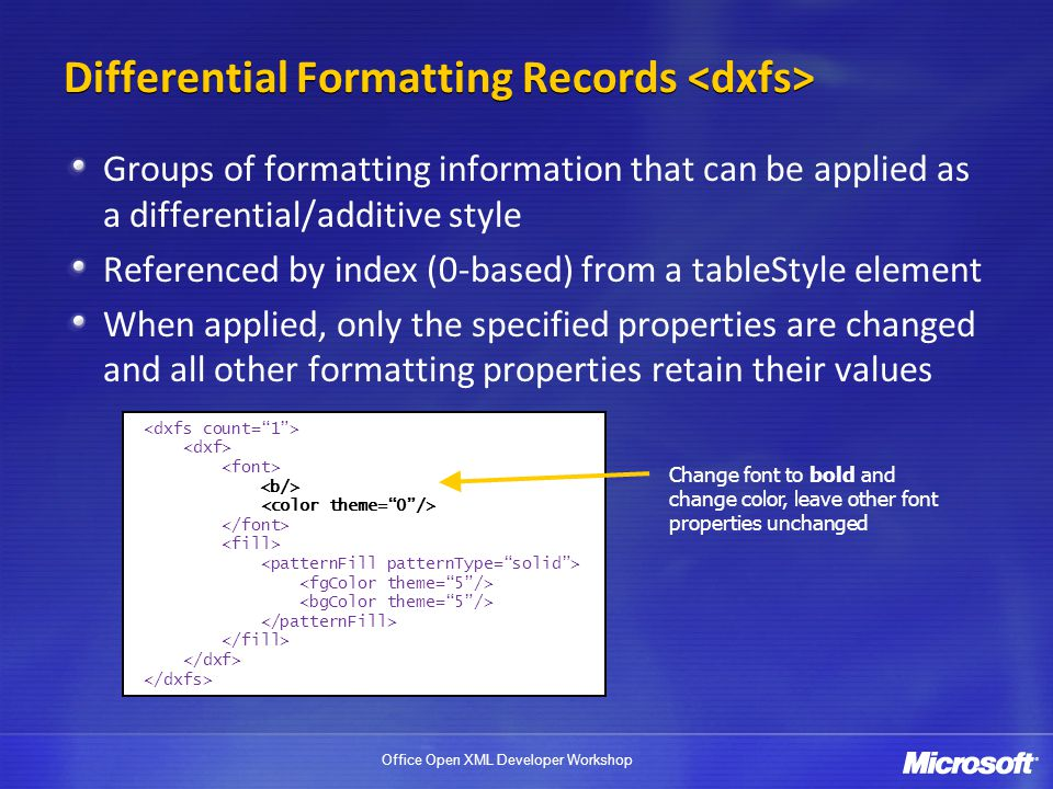 Differential Formatting Records <dxfs>