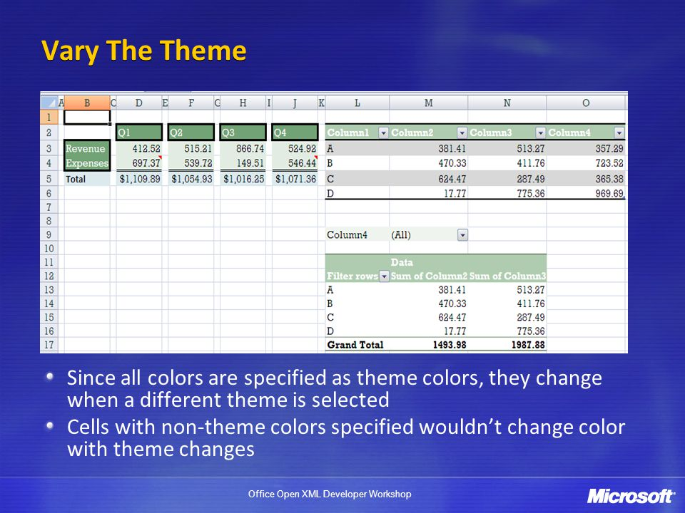 Vary The Theme Since all colors are specified as theme colors, they change when a different theme is selected.
