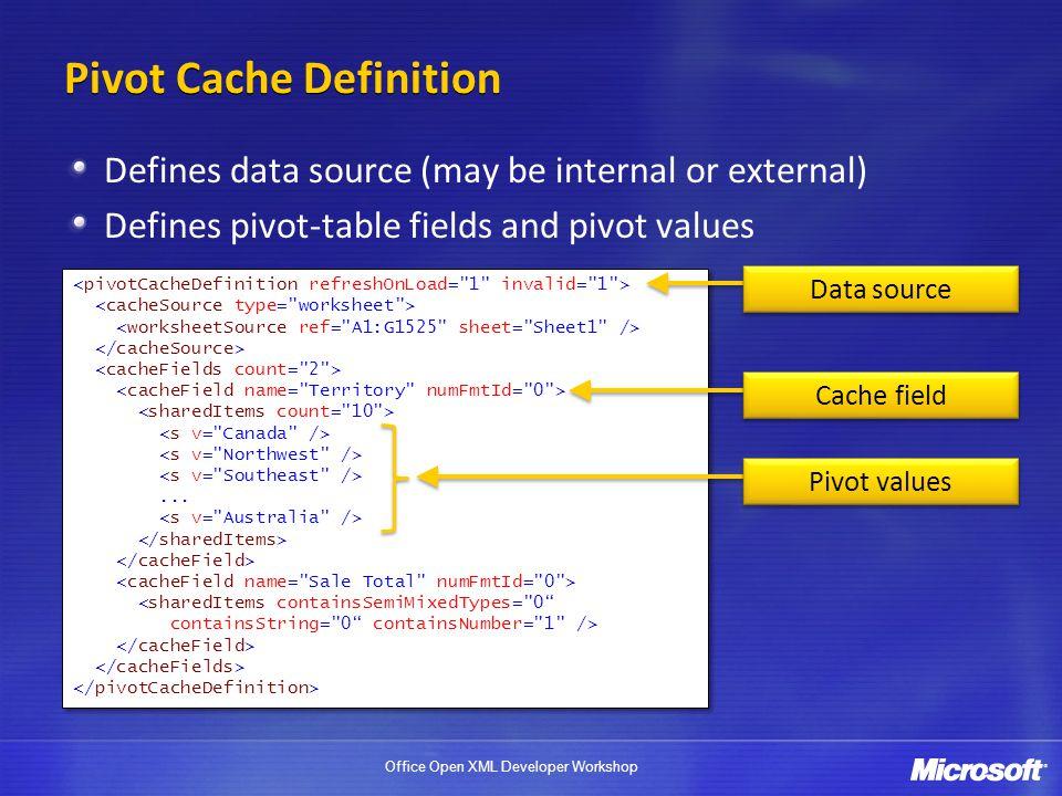 Pivot Cache Definition
