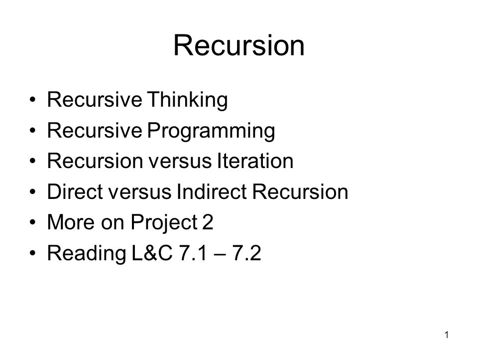 Recursion Recursive Thinking Recursive Programming