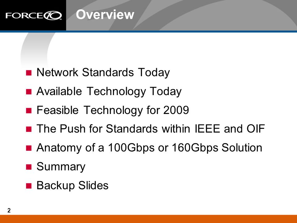 Overview Network Standards Today Available Technology Today