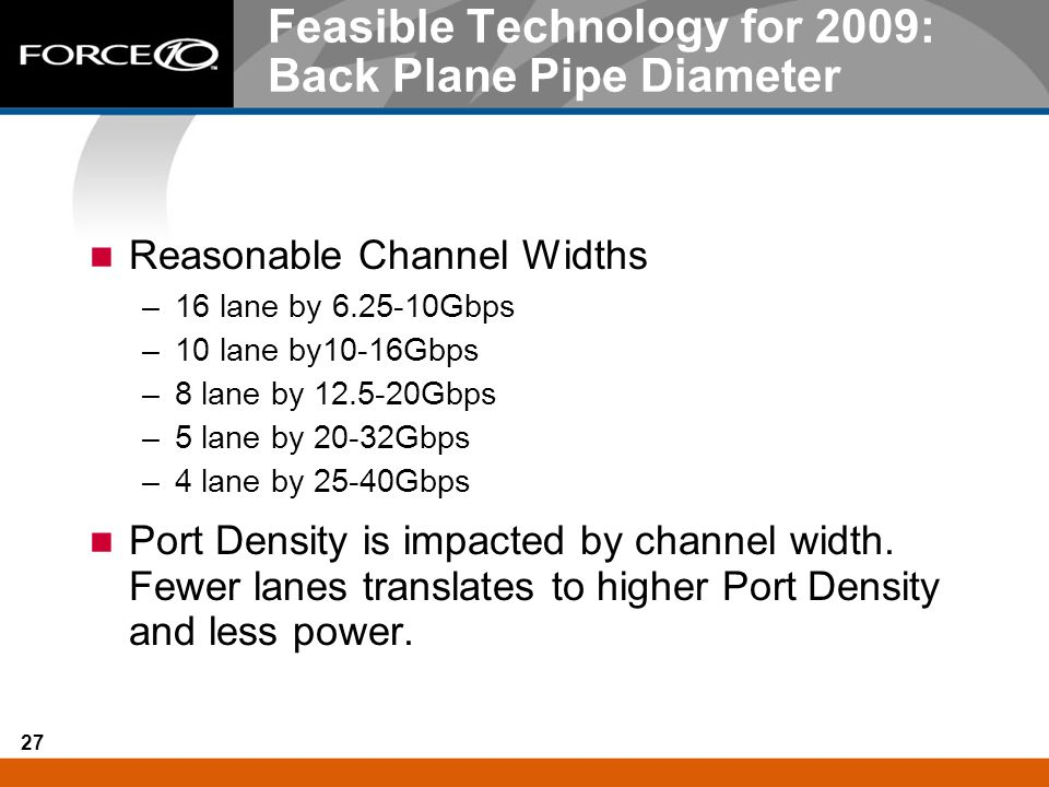 Feasible Technology for 2009: Back Plane Pipe Diameter