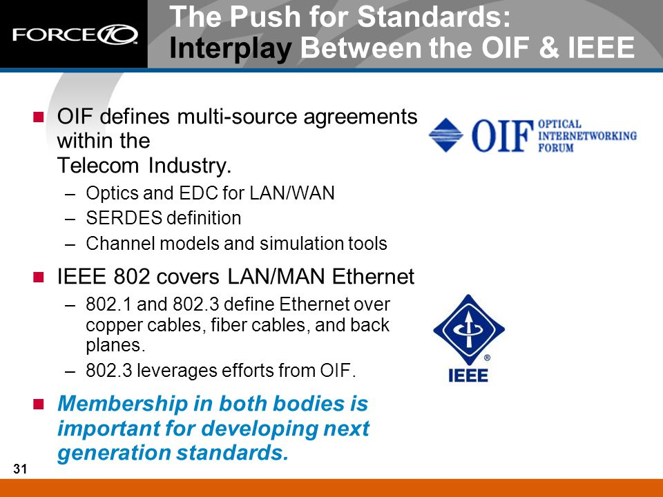 The Push for Standards: Interplay Between the OIF & IEEE