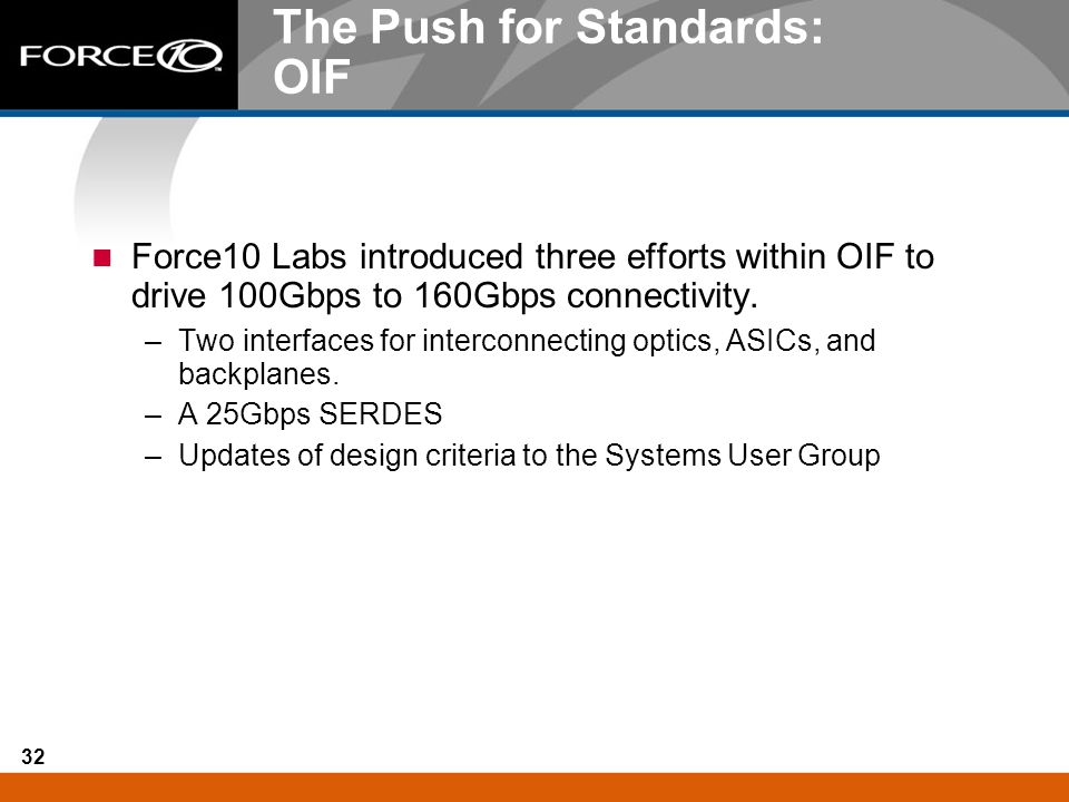 The Push for Standards: OIF