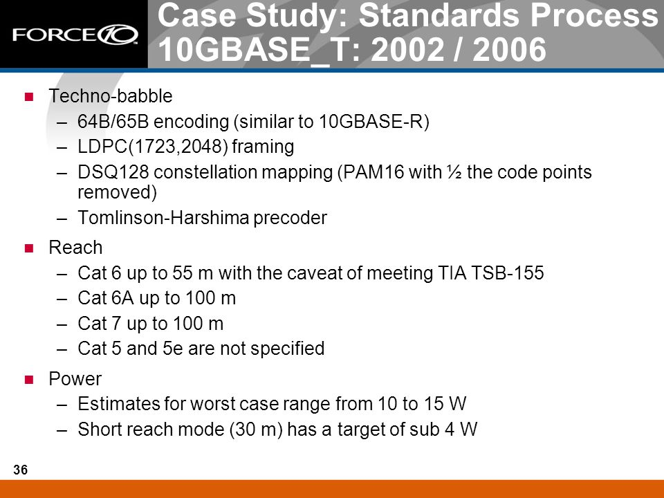 Case Study: Standards Process 10GBASE_T: 2002 / 2006