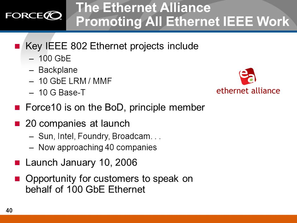The Ethernet Alliance Promoting All Ethernet IEEE Work