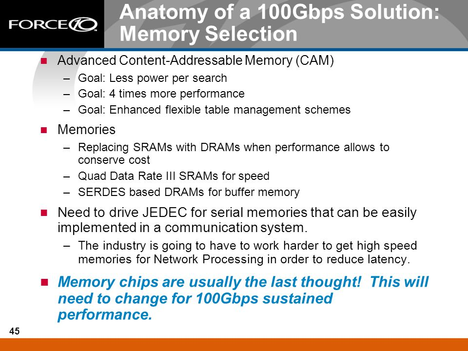 Anatomy of a 100Gbps Solution: Memory Selection