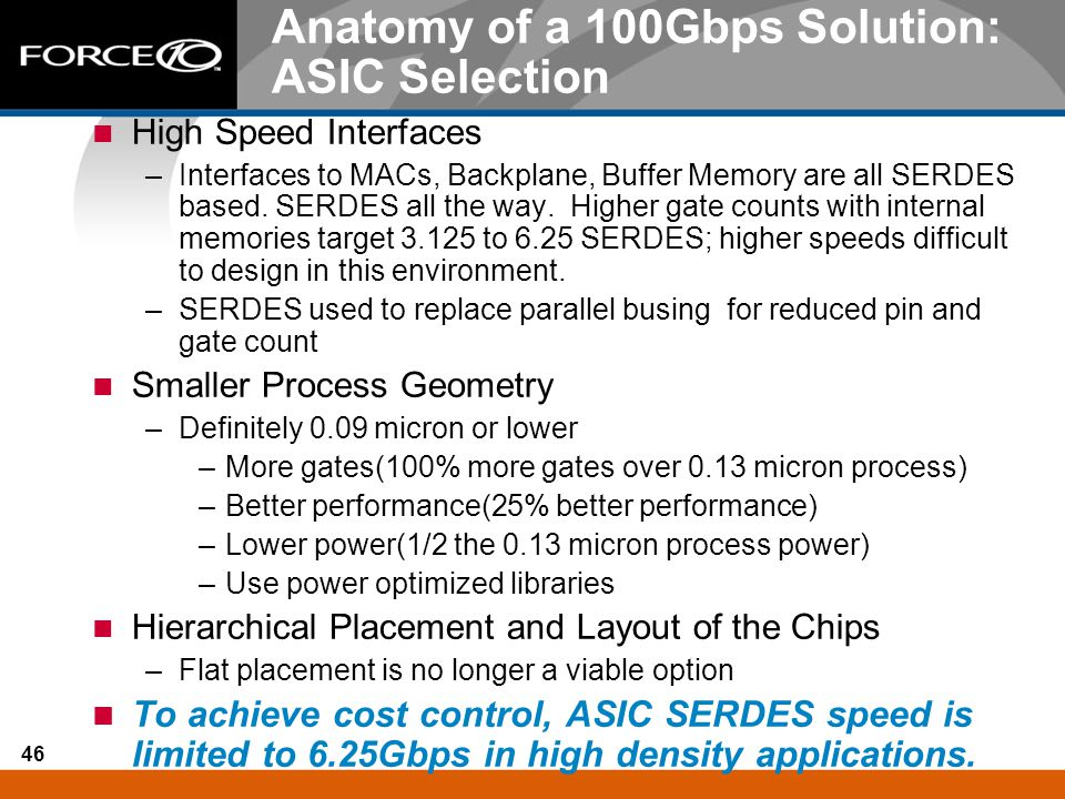Anatomy of a 100Gbps Solution: ASIC Selection