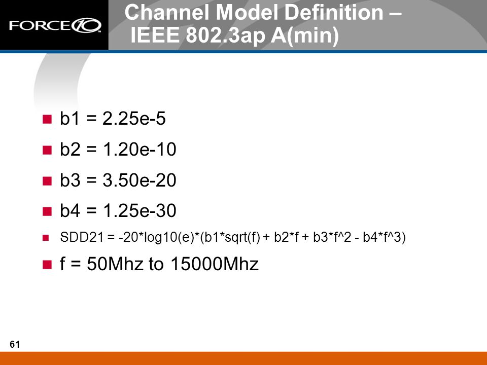 Channel Model Definition – IEEE 802.3ap A(min)