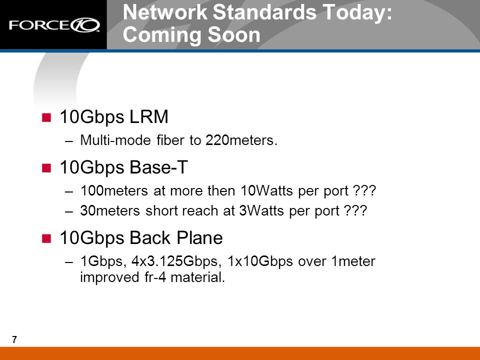 Network Standards Today: Coming Soon