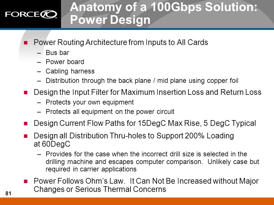 Anatomy of a 100Gbps Solution: Power Design