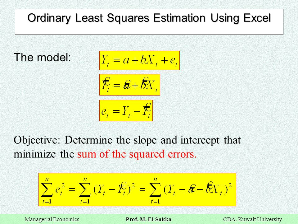 Ordinary Least Squares Estimation Using Excel