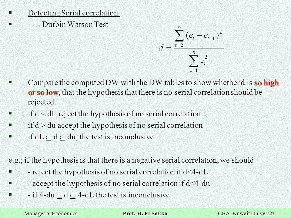Detecting Serial correlation.