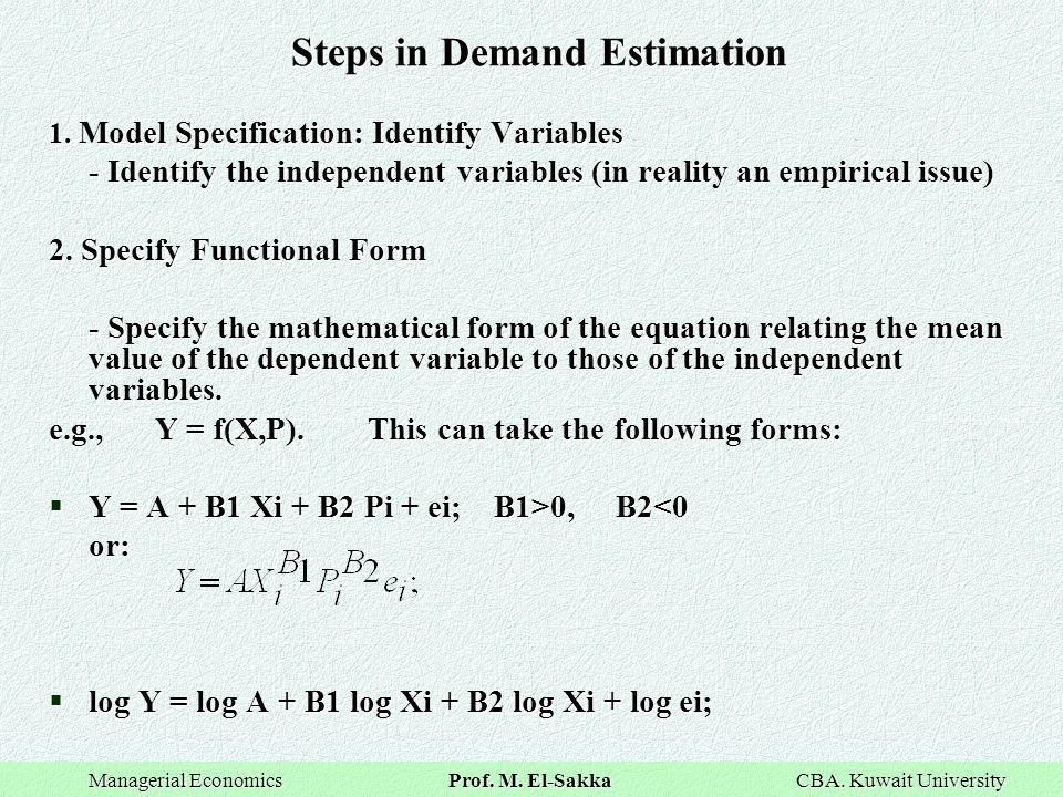 Steps in Demand Estimation