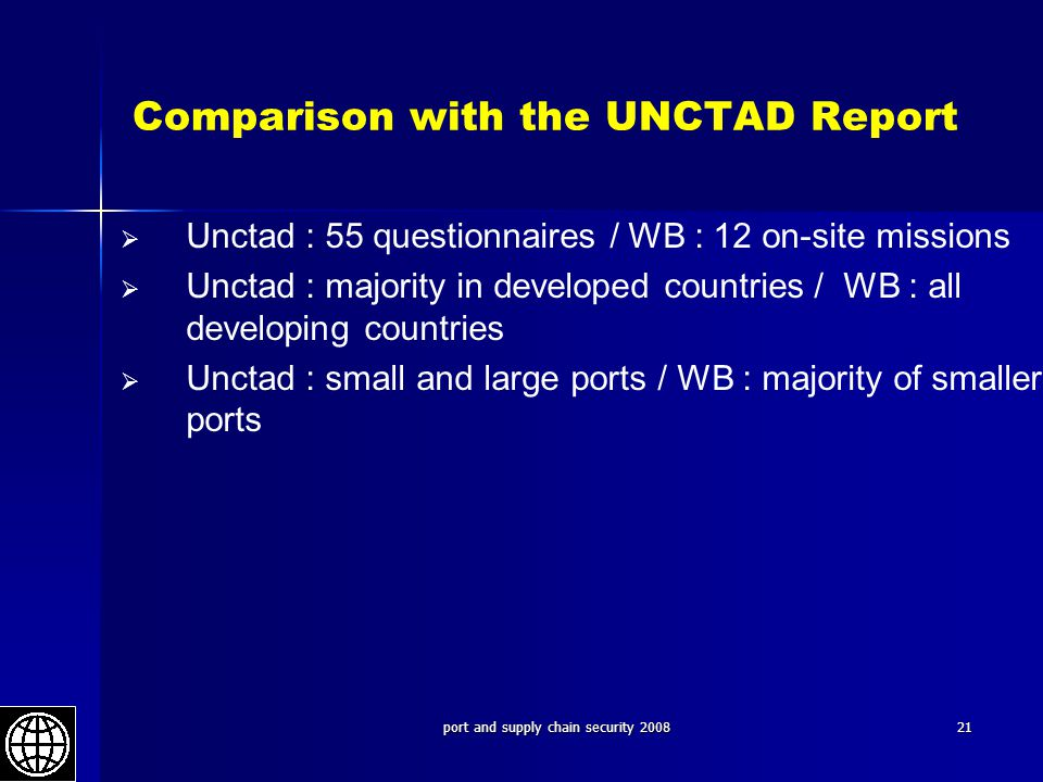 Comparison with the UNCTAD Report