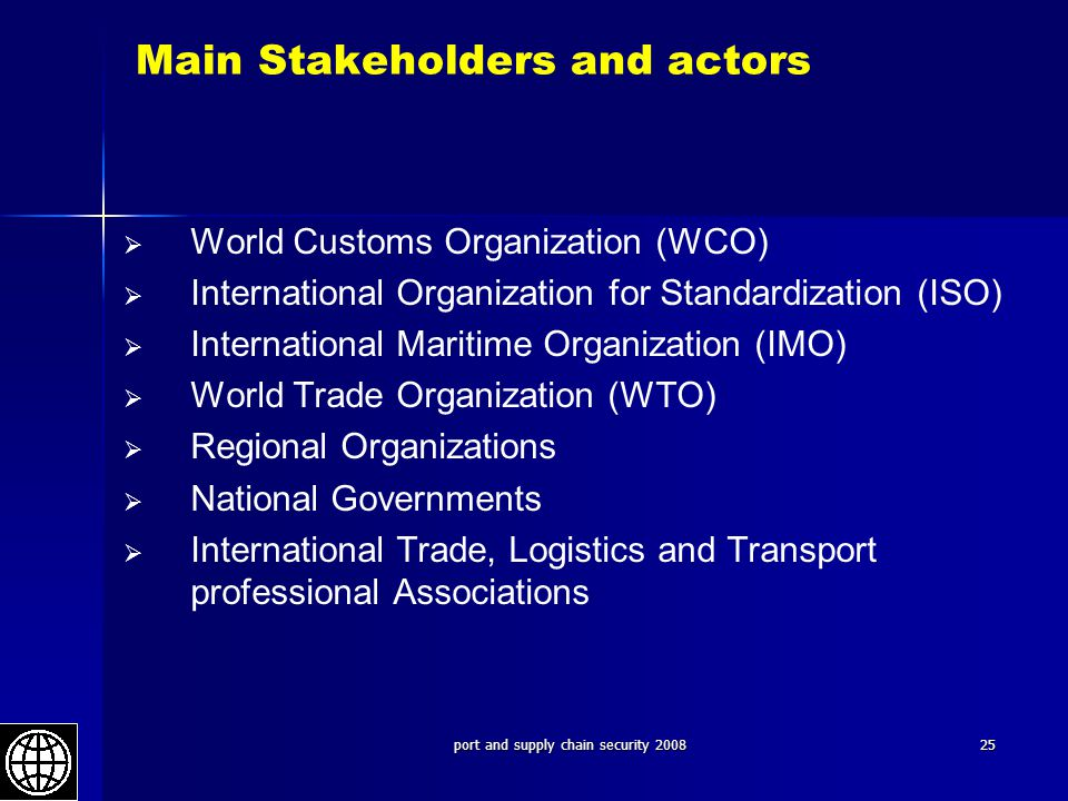 Main Stakeholders and actors