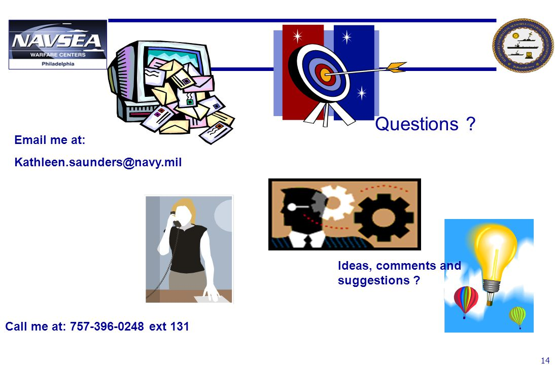 Questions Email me at: Kathleen.saunders@navy.mil