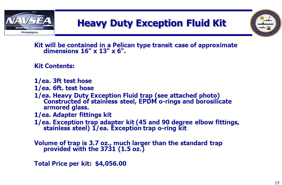 Heavy Duty Exception Fluid Kit