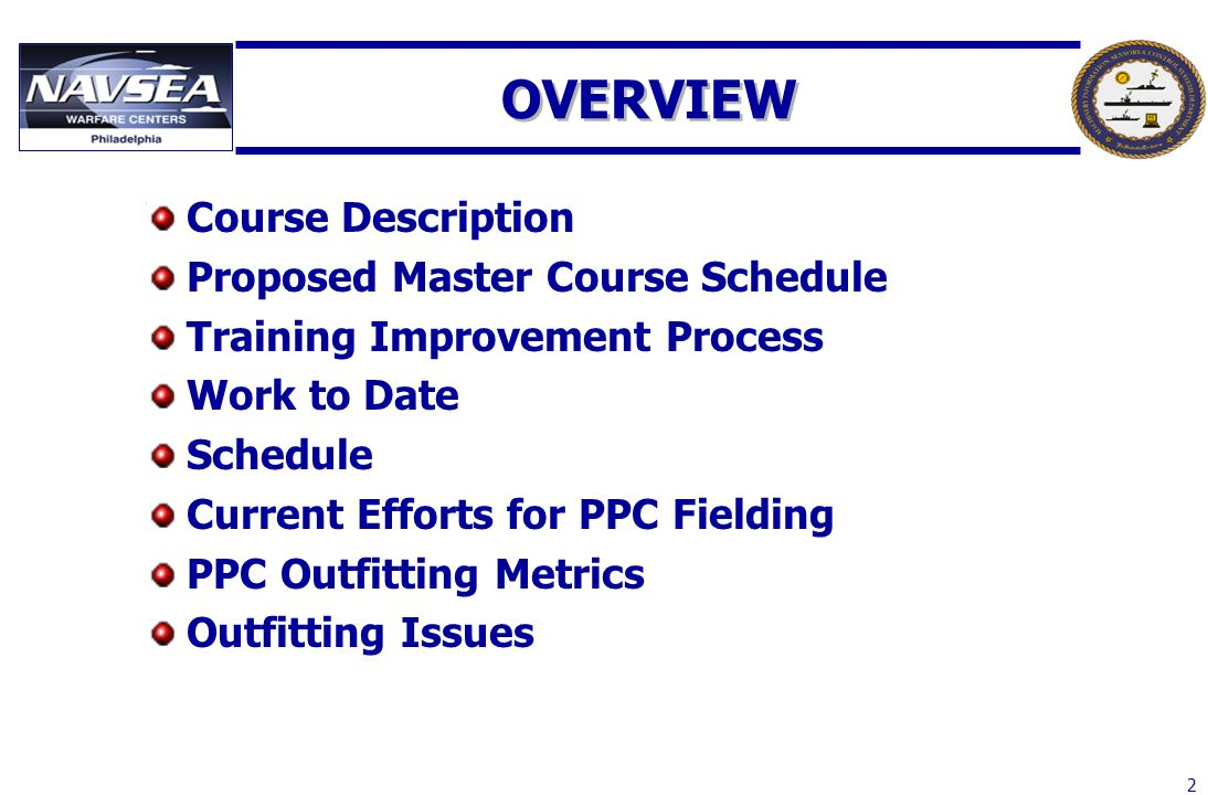 OVERVIEW Course Description Proposed Master Course Schedule
